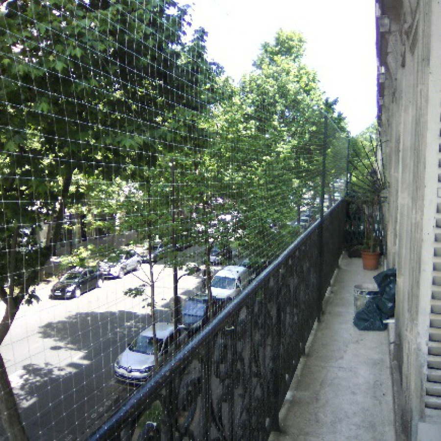 Grande terrasse à Paris avec un filet pour chat